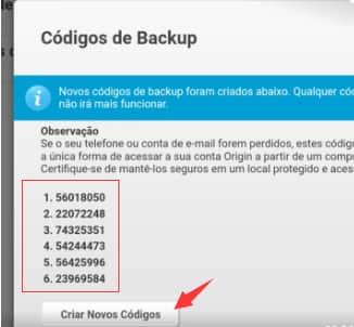 código backup origin